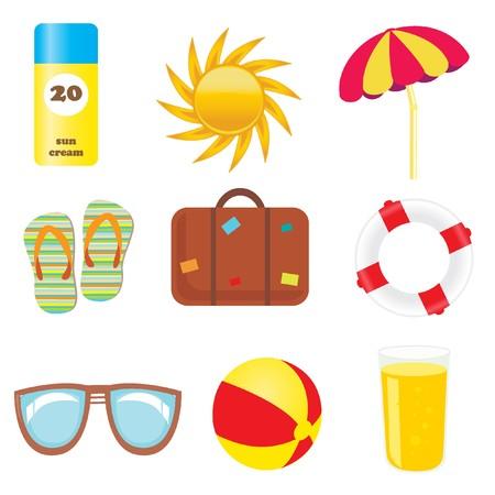 sun tan: Conjunto de iconos de playa y de verano