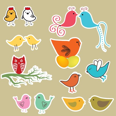 Cute birds set. Vintage  illustration  Vector