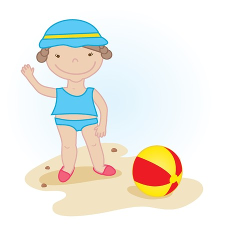 Cute little baby girl on the beach  Vector