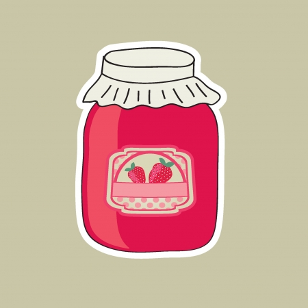 Jar with strawberry jam Vector