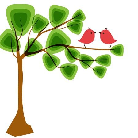 Abstract tree Birds couple in love. illustration