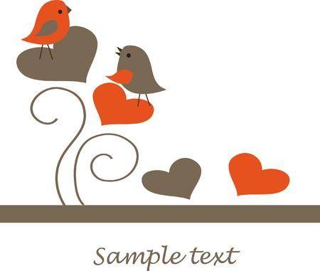Pareja de aves en la ilustración de amor
