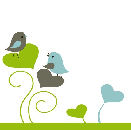 Birds couple in love.  illustration Stock Vector - 7705834