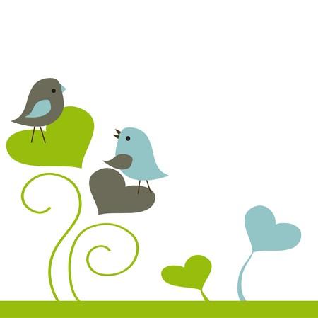 night bird: Birds couple in love.  illustration