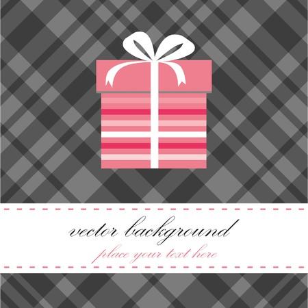 Birthday card with present box. Vector