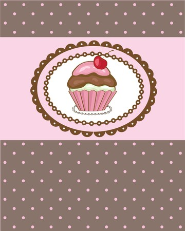 Birthday card with cherry cake  Vector