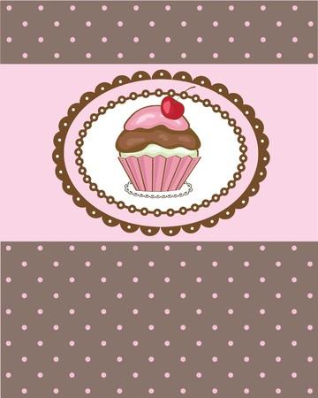 dessert muffin: Birthday card with cherry cake