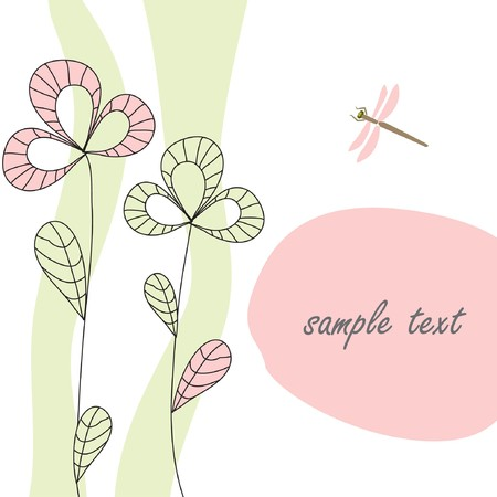 Floral card in retro style