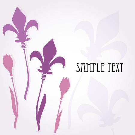 Fleur de lis violet card  Vector