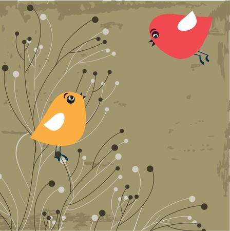 Birds in love.  Stock Vector - 7705624