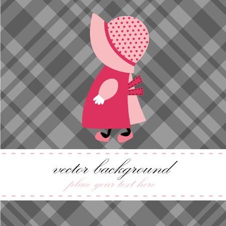Baby girl arrival announcement retro card Stock Vector - 7705648