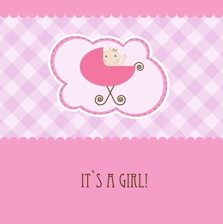 Baby girl arrival announcement retro card  Stock Vector - 7705675