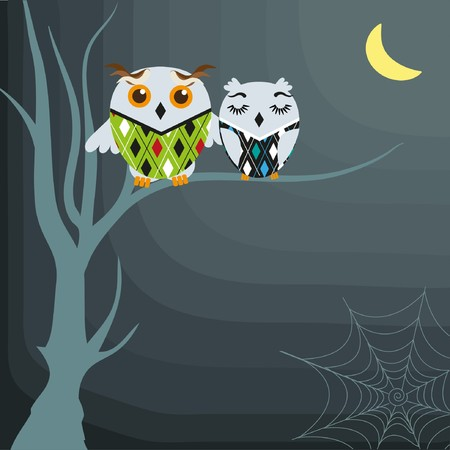 october calendar: Halloween background with owls on the dead tree