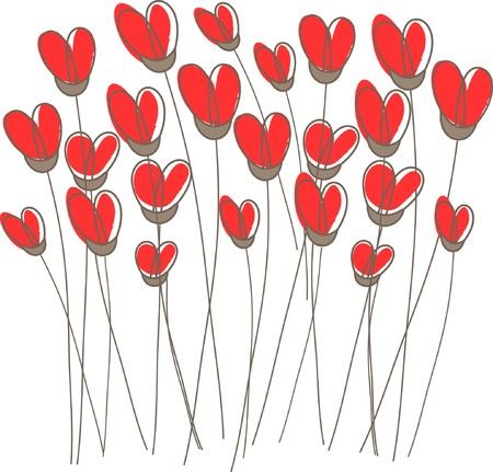 rnabstract: Greetings card with floral hearts  Illustration