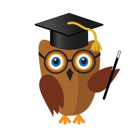 cartoon board: Cute wise owl in mortar board hat