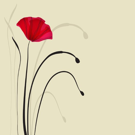 Card with poppies  Vector
