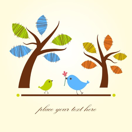feb: Birds on the tree Illustration