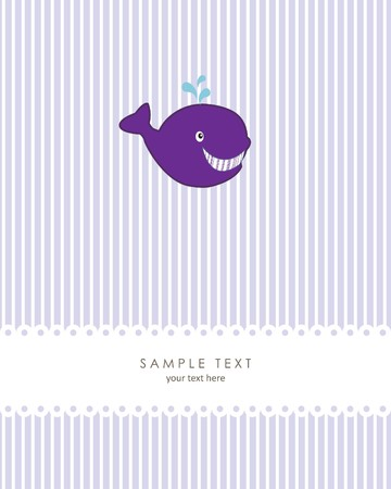 Greeting card with whale and place for te Vector