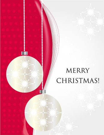 yearrn: Christmas background with silver balls and snowflakes