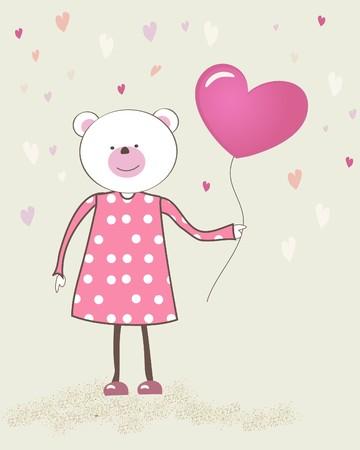 Bear girl with heart balloon.  Stock Photo - 7763573