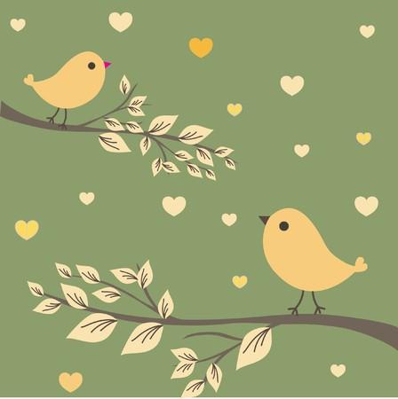 Pareja de aves del amor.