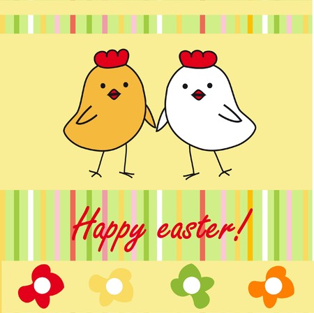 Easter card with cartoon chickens. Stock Photo