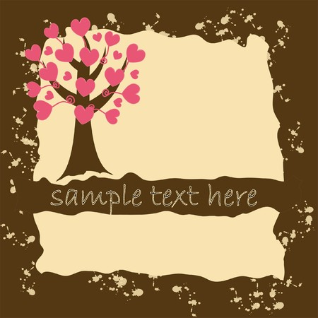 wallpaperrn: Grunge valentine`s card with love tree.