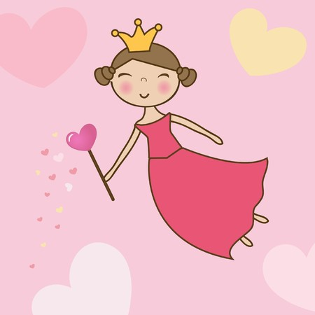 angel cartoon: Valentine card with fairy
