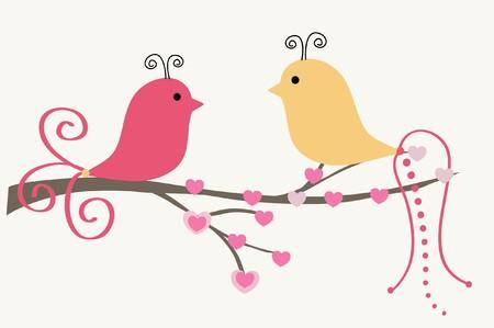 bird cage: Birds couple in love