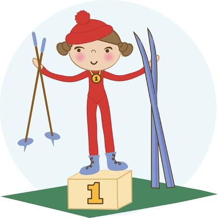 Skier girl on the winner podium. photo