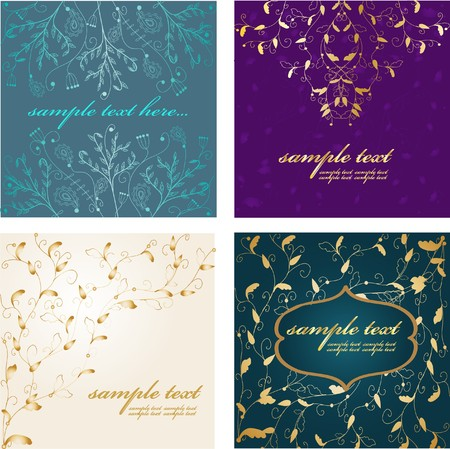 weddingrn: Set Retro floral card Stock Photo