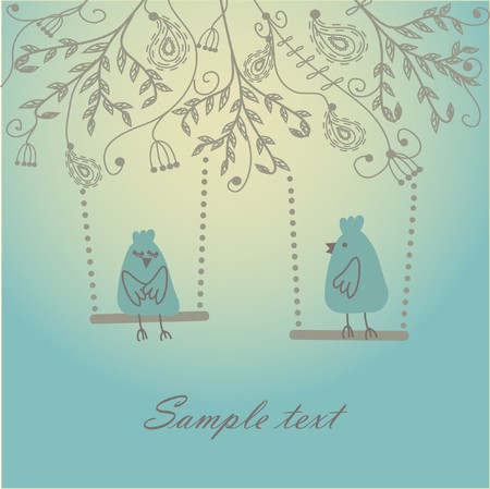 Greeting card with two cute birds  Stock Photo - 7839090