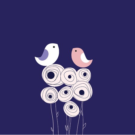 vintage music background: Greeting card with two cute birds