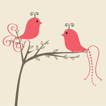 Greeting card with two cute birds Stock Photo - 7838834