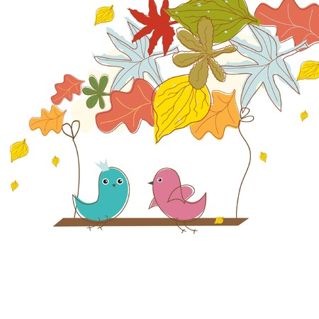 wallpaperrn: Birds in love. Autumn background