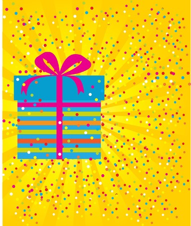 Birthdays card with box and confetti. photo
