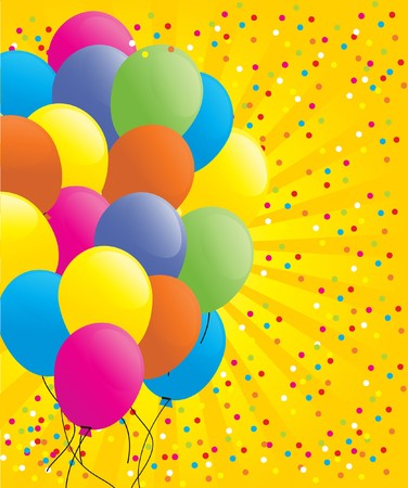 Birthdays card with balloons and confetti photo