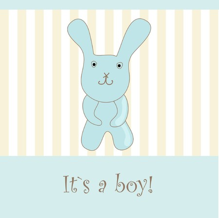 Baby boy arrival announcement card. Stock Photo - 7838791