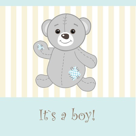 Baby boy arrival announcement card. Stock Photo - 7838795