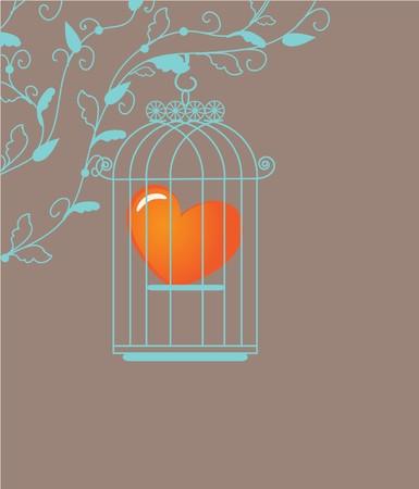 Heart in birdcage.  photo
