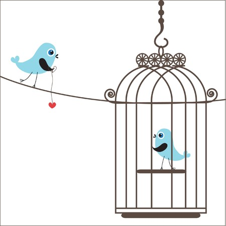 Birds couple in love.