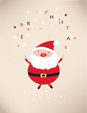 letter from santa: Retro xmas card with happy santa  Stock Photo