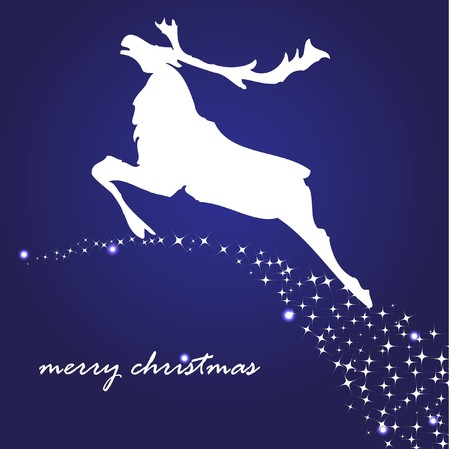 yearrn: Greeting card with christmas reindeer  Stock Photo
