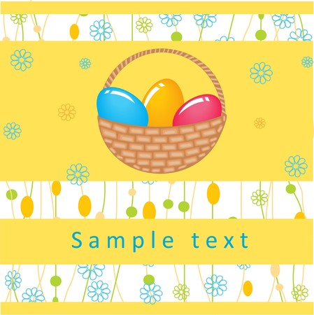 Easter card with eggs in basket. Vector illustration. Stock Illustration - 7839111