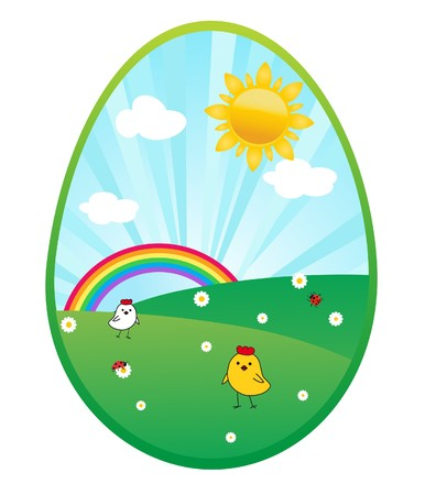 passover and easter chick: Easter card with spring landscape.