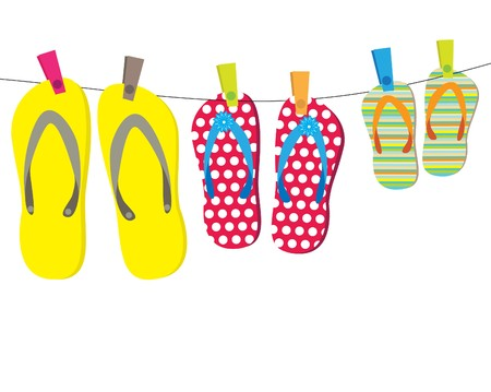 three objects: Summer card with family flip-flops . Vector illustration. Stock Photo