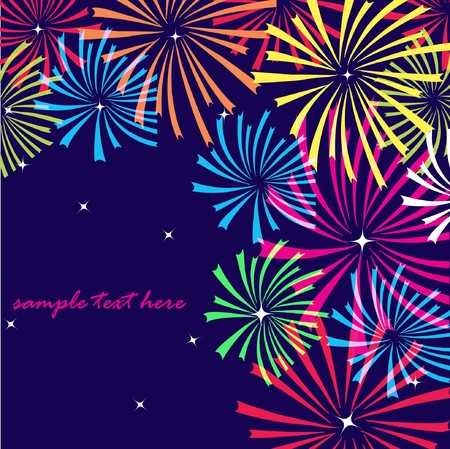 rnart: Fireworks on dark background. Vector illustration  Stock Photo