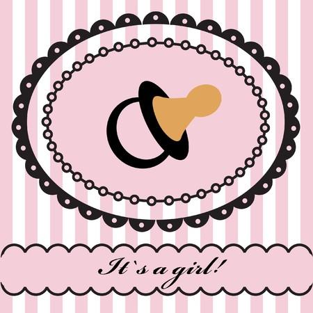 Baby gil arrival announcement retro card.  illustration.  Banco de Imagens