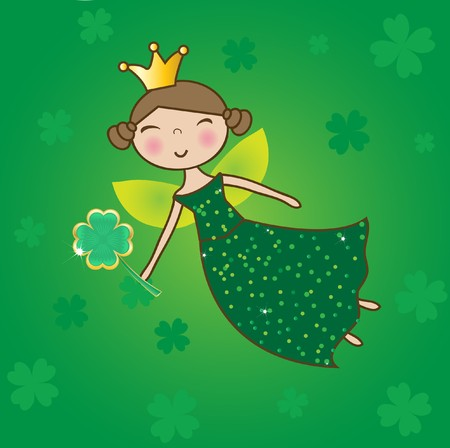 St. Patrick fairy with clover magic wand.  Stock Photo - 7792306