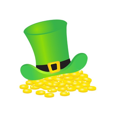 leprechaun's hat: Leprechauns hat and gold coins.  Stock Photo